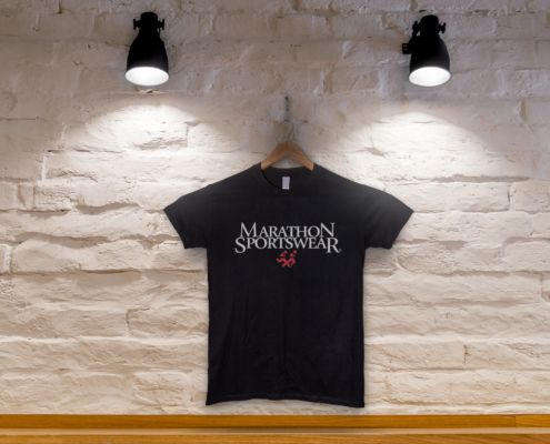 Tshirt on wall with lighting storefront